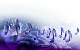 Abstract sheet music design background with 3d musical notes Royalty Free Stock Image