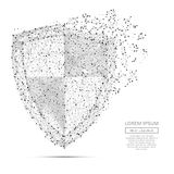 Abstract shield concept gray. Grey shield with polygon line on black abstract background. Polygonal space low poly guard with connecting dots and lines Stock Photography