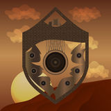 Abstract shield on desert background Royalty Free Stock Photo