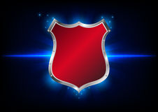 Abstract shield label on blue background Stock Images