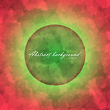 Abstract shine green circle. Glowing ring with colorful flow texture green color and inscription inside on red abstract background Royalty Free Stock Images