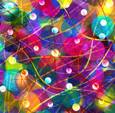 Abstract shined background with rainbow circles. And decorative stripes vector illustration