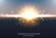 Abstract Shining Background. Design with sunrise, sky, sun and the blurred effect. Vector illustration.  Stock Photography