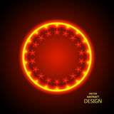 The abstract shining. Background. A round banner in a retro style. A billboard with the burning stars and the place for the text. A circular template with Stock Image