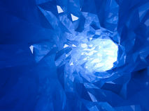 Abstract shining bright blue crystal digital tunnel. Background. 3d illustration Stock Photo