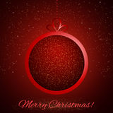 Abstract Shining Christmas ball on red background Royalty Free Stock Photos