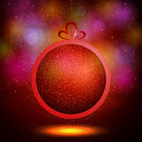 Abstract Shining Christmas balls on red background Stock Photos