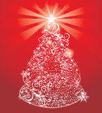 Abstract shining christmas tree. On red background stock illustration