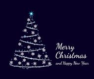 Abstract shining christmas tree with glowing stars, snowflakes and light chain. Merry Christmas and happy new year text. Holiday greeting card on dark blue royalty free illustration
