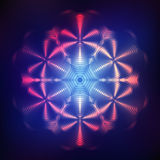 Abstract shining cosmic star. Red abstract shining cosmic mandala on blue background Royalty Free Stock Photography