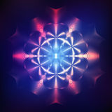 Abstract shining cosmic star. Red abstract shining cosmic mandala on blue background Royalty Free Stock Photos