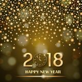 Abstract shining falling stars on golden ambient blurred background. New Year 2018 concept. Luxury design. Vector illustration Stock Photos