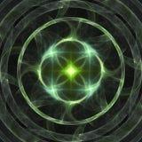 Abstract shining green star burning rings fractal banner or print background art stock illustration