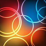 Abstract shining neon circles Royalty Free Stock Photo