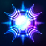 Abstract shining neon light sun shape Royalty Free Stock Photography