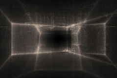 Abstract shining pattern over dark concrete wall texture. Digital background, 3d render illustration Stock Photo
