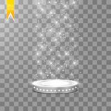Abstract Shining Podium Background with Spotlights. White Glittering Scene. You Win Luxury, Success and Treasure Design. Game, Fashion and Gambling Space royalty free illustration