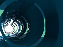 Abstract shining tunnel interior, 3 d render. Abstract shining tunnel interior with blue green reflections. Digital background, 3d illustration Royalty Free Stock Photography