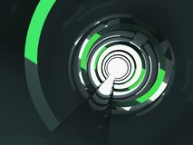 3d shining tunnel with green reflections. Abstract shining tunnel interior with green reflections. Digital background, 3d illustration Royalty Free Stock Photo