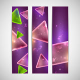 Abstract shiny banners with geometric shapes. And sparkles Royalty Free Stock Image