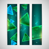 Abstract shiny banners with geometric shapes. And sparkles Royalty Free Stock Photography