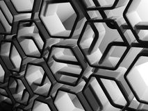 Abstract shiny black 3d honeycomb pattern. Abstract shiny black honeycomb structure background, 3d render illustration Royalty Free Stock Images