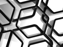 Abstract shiny black honeycomb patten 3d. Abstract shiny black honeycomb ornamental background, 3d render illustration Royalty Free Stock Photos