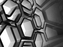 Abstract shiny black honeycomb structure 3d. Abstract shiny black honeycomb structure background, 3d illustration Stock Images