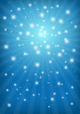 Abstract shiny blue background. Abstract shiny background with light rays and stars Royalty Free Stock Photos