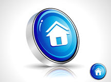 Abstract shiny blue home icon Stock Photos