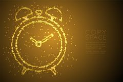 Abstract Shiny Bokeh star pattern Alarm clock shape, digital reminder concept design gold color illustration. Isolated on brown gradient background with copy royalty free illustration
