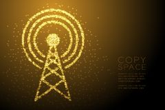 Abstract Shiny Bokeh star pattern Antenna tower shape, Broadcast telecommunication concept design gold color illustration. Isolated on brown gradient background royalty free illustration