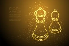 Abstract Shiny Bokeh star pattern Chess King and pawn shape, Business strategy concept design gold color illustration. Isolated on brown gradient background Stock Images