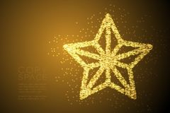 Abstract Shiny Bokeh star pattern Christmas star shape, Happy New Year celebration concept design gold color illustration. Isolated on brown gradient background stock illustration