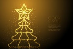 Abstract Shiny Bokeh star pattern Christmas tree with star shape, Happy New Year celebration concept design gold color illustratio. N isolated on brown gradient vector illustration