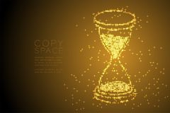 Abstract Shiny Bokeh star pattern 3d isometric Hourglass shape, digital reminder concept design gold color illustration. Isolated on brown gradient background Royalty Free Stock Photos