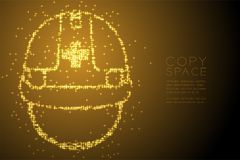 Abstract Shiny Bokeh star pattern Helmet construction shape, safety first concept design gold color illustration. Isolated on brown gradient background with Royalty Free Stock Photos