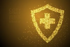 Abstract Shiny Bokeh star pattern Medical shield with cross sign shape, protection concept design gold color illustration. Isolated on brown gradient background Royalty Free Stock Photos