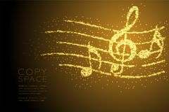 Abstract Shiny Bokeh star pattern Music note with line staff shape concept design gold color illustration. Isolated on brown gradient background with copy space Royalty Free Illustration