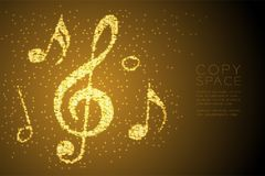 Abstract Shiny Bokeh star pattern Music note shape concept design gold color illustration. Isolated on brown gradient background with copy space, vector eps 10 Vector Illustration