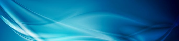 Abstract shiny bright blue waves banner design. Vector wavy header background Royalty Free Stock Image