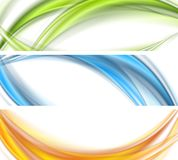 Abstract shiny bright wavy banners design. Vector waves headers background stock illustration