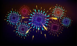 Abstract colorful fireworks background. Abstract shiny colorful fireworks background Royalty Free Stock Images