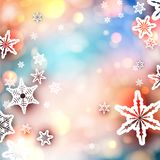 Abstract shiny festive background with snowflakes. Abstract shiny festive, New Year, Christmas or winter card with beautiful snowflakes. Bokeh effect. Vector vector illustration