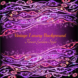 Abstract shiny floral pattern violet background Stock Photography