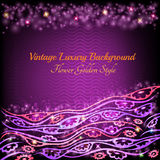 Abstract shiny floral pattern violet background with plant flower Royalty Free Stock Images