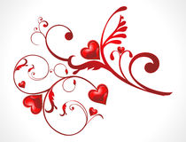 Abstract shiny floral red heart wallpaer Royalty Free Stock Image