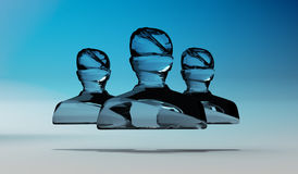 Abstract shiny glass avatar grouped together 3D rendering Royalty Free Stock Photography