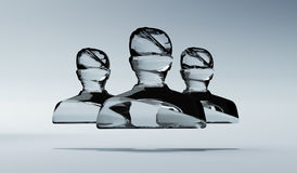 Abstract shiny glass avatar grouped together 3D rendering Royalty Free Stock Photos