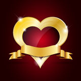 Abstract shiny golden heart with ribbon Royalty Free Stock Images